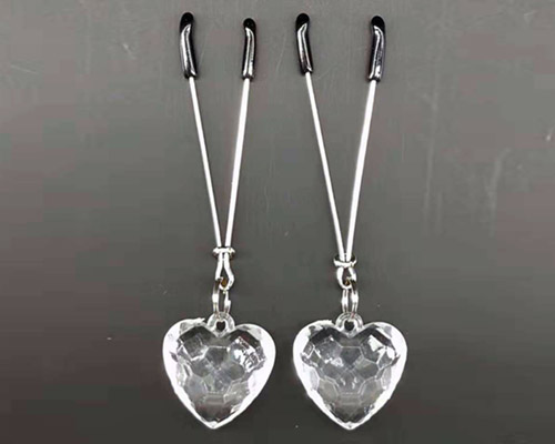 Slave Orgasm Clear Diamond Heart Nipple Clamps