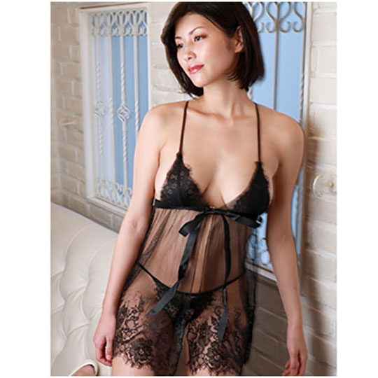 Crescente Black Lace and Tulle Babydoll Set