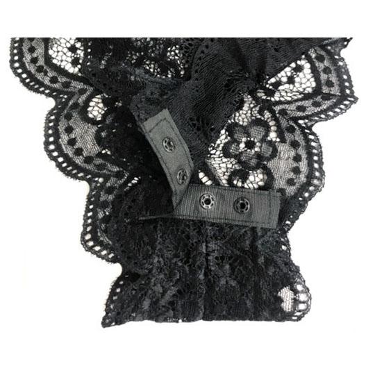 Crescente Halterneck Cheeky Black Lace Teddy