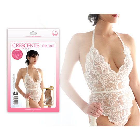 Crescente Halterneck Cheeky White Lace Teddy