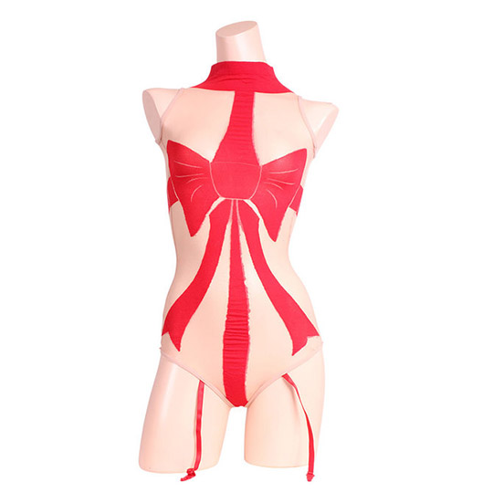 Eye-Catching Ribbon-Patterned Bodystocking