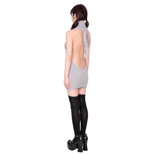 Open-Front Virgin Killer Sweater and Knee-High Socks Set