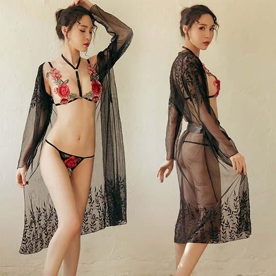 Rose Pattern Bra and Panties Set
