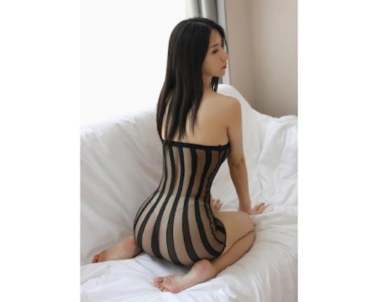 Striped See-Through Bodystocking