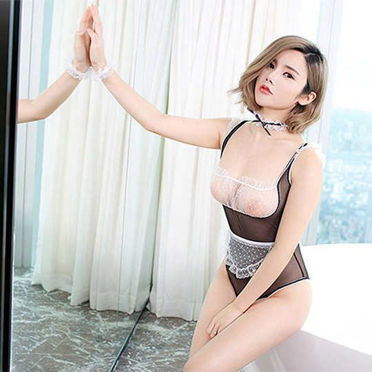 Transparent Leotard Maid Costume