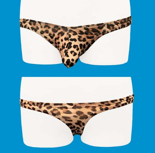 Cock Ring Thong Briefs with Leopard Print