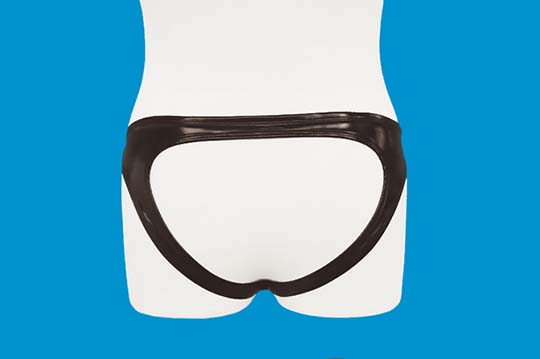 Shiny Enamel Open Back Briefs with Ring