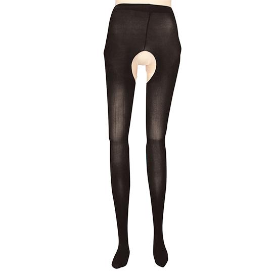 Open-Crotch Black Tights