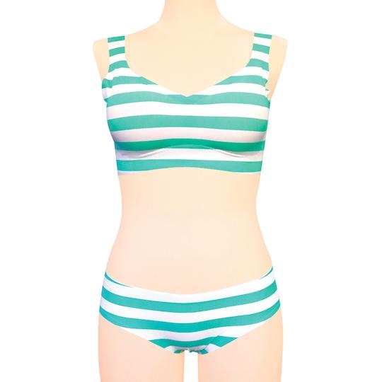 Seamless Stripy Bra and Panties for Crossdressers