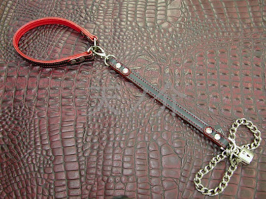 BDSM Leather Choker Metal Chain Leash