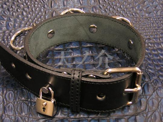 Leather Bondage Collar with Padlock