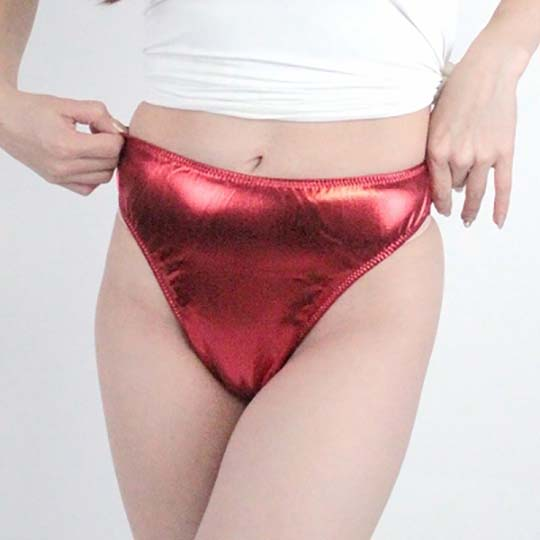 Shiny Stretch Metallic T-Back Thong Panties